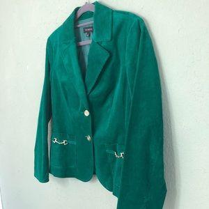 Talbots Emerald Green Corduroy Blazer Size 8